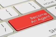Word een agentenknoop, roodgloeiende sleutel bij toetsenbord het 3D teruggeven Stock Fotografie