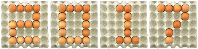 2017 word from eggs in paper tray Stock Image