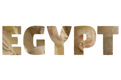 Word EGYPT over symbolic places. Stock Photo