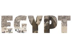 Word EGYPT over symbolic places. Stock Image
