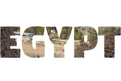 Word EGYPT over symbolic places. Royalty Free Stock Photography