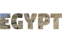 Word EGYPT over symbolic places. Royalty Free Stock Images