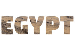 Word EGYPT over symbolic places. Stock Images