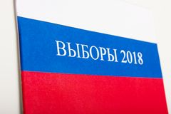 The word election in a flag of Russia. The word election 2018 in a flag of Russia Royalty Free Stock Photos
