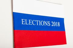 The word election in a flag of Russia. On the wall Royalty Free Stock Photos