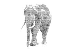 Word elephant mixed to be figure of elephant, with typography st. Yle, isolated on white background Stock Images