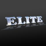 Word elite. On a black background there is a word elite, written by the chrome plated letters Royalty Free Stock Images