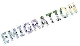 The word emigration. On a white background royalty free stock photos