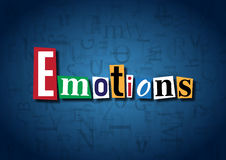 The word Emotions made from cutout letters. On a blue background Royalty Free Stock Images