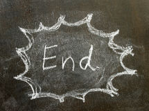 The word end in bubble sign. Background royalty free stock images