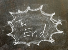 The word the end in bubble sign. Background stock photo
