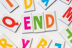 Word end made of colorful letters Royalty Free Stock Photography