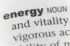 The Word Energy Close Up stock images