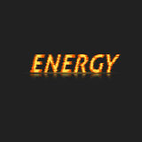 The word Energy. Executed in the dynamic burning style. Bright inscription.Design element. Abstract background. Vector illustration Stock Image