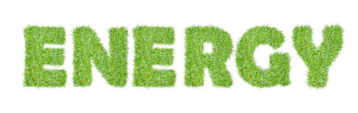 The word ENERGY  from the green grass Stock Images