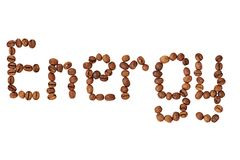 Word Energy made of coffee beans isolated on white Royalty Free Stock Photography