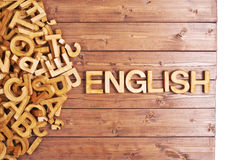 Word english made with wooden letters Royalty Free Stock Image