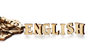 Word ENGLISH made with wooden letters Stock Images