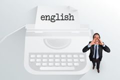 The word english and shouting businessman Royalty Free Stock Photography