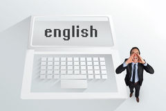 The word english and shouting businessman Royalty Free Stock Photo