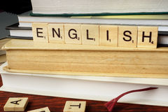 Word English from wooden blocks Stock Image