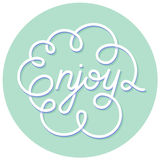 Word Enjoy. Hand lettering. Handmade calligraphy Stock Image