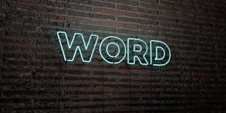 WORD - enseigne au néon réaliste sur le fond de mur de briques - image courante gratuite de redevance rendue par 3D Photos stock