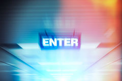 Word enter on motion blur advertising board Stock Image