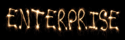 Word enterprise written sparkler Stock Images