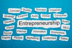 Word entrepreneurship on piece of torn paper Stock Photo