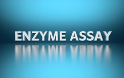 Word Enzyme Assay. Written in large bold white letters and placed on blue background over reflective surface. 3d illustration vector illustration