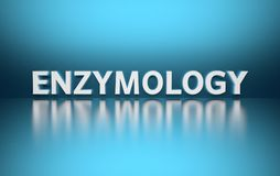 Word Enzymology. Written in large bold white letters and placed on blue background over reflective surface. 3d illustration vector illustration