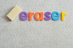 The word eraser displayed with an eraser. On a white background Royalty Free Stock Photo