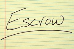 Escrow On A Yellow Legal Pad Stock Images
