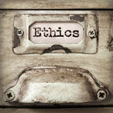 Word Ethics on Vintage Filing Cabinet Drawer Label Royalty Free Stock Photo