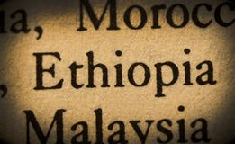 Word ethiopia. In the text Royalty Free Stock Photography