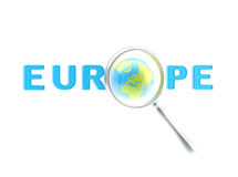 Word Europe under the magnifier. Isolated on white Stock Photography
