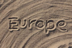 Word Europe write on the sand Stock Photography