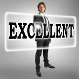 The word Excellent on a virtual interface stock image