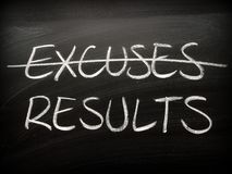 Excuses Versus Results written on a Blackboard royalty free stock photo