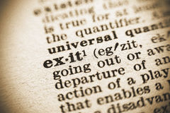 The word Exit in the dictionary Royalty Free Stock Photos