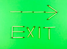 Word Exit made of matchsticks Stock Photo