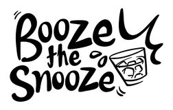Word expression for booze the snooze. Illustration Royalty Free Stock Photos