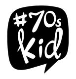 Word expression for 70s kid Stock Photos