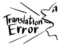 Word expression for translation error Stock Photos