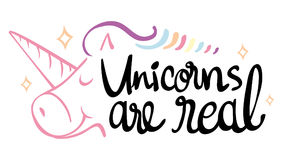 Word expression for unicorns are real Royalty Free Stock Photography