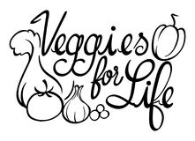Word expression for veggies for life Stock Image