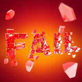 Word fail broken into pieces background Royalty Free Stock Photos