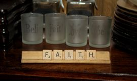 Scrabble Faith Display on China Hutch royalty free stock images
