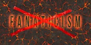 Word fanatisme door rode verf op gevaars rode lava die wordt geschreven en wordt gekruist vector illustratie